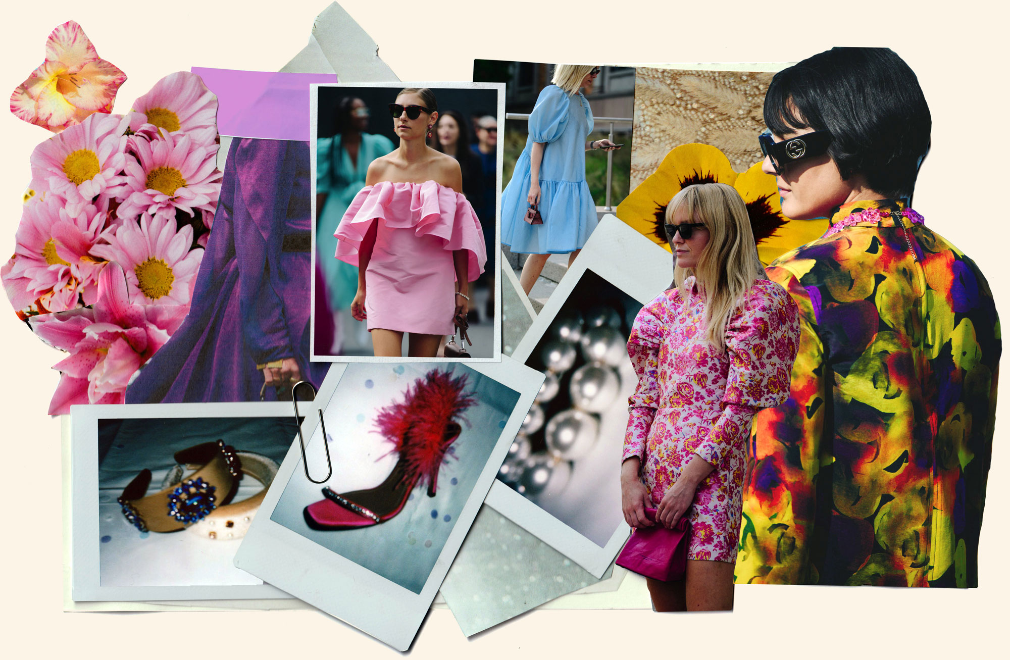 Collage of pictures of people in colourful clothes and Polaroids of pearls, shoes and headbands