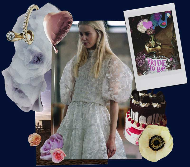 Collage of cakes, dresses, flowers and rings