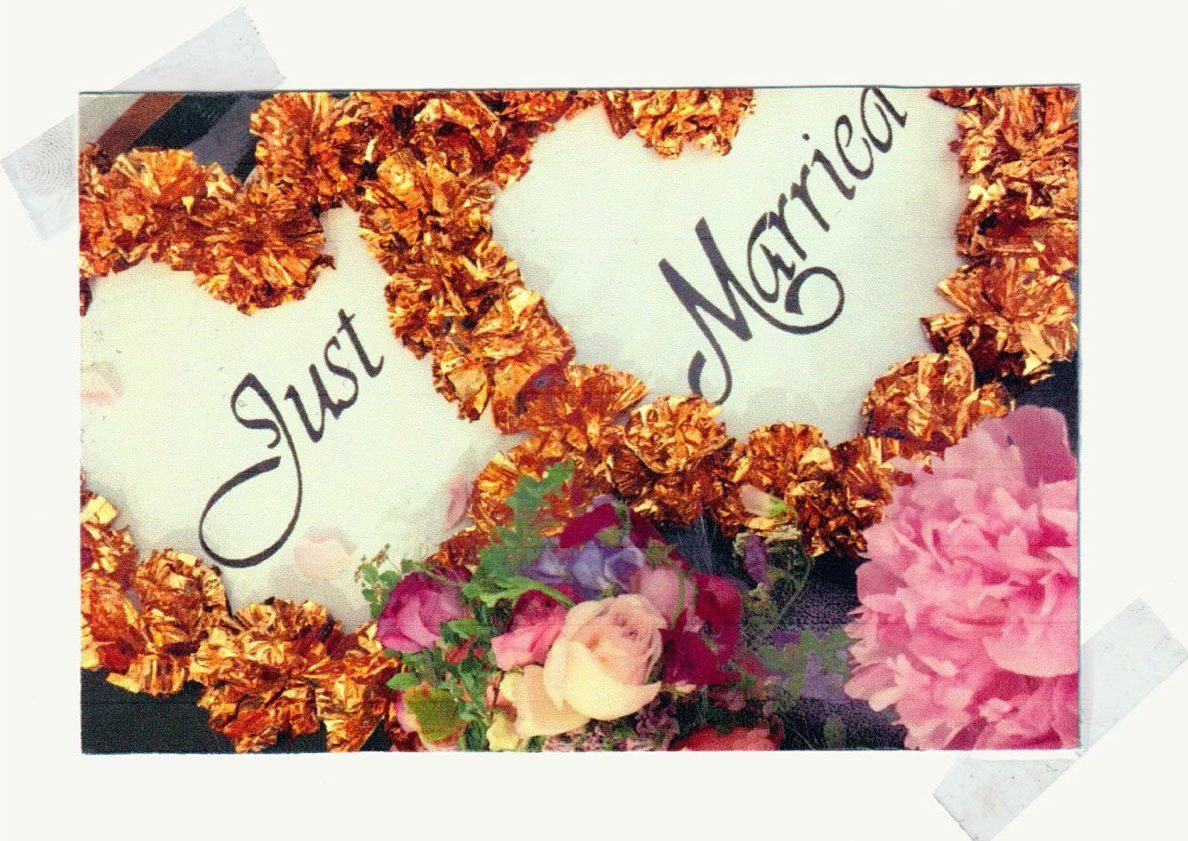 Just Married flower arrangement