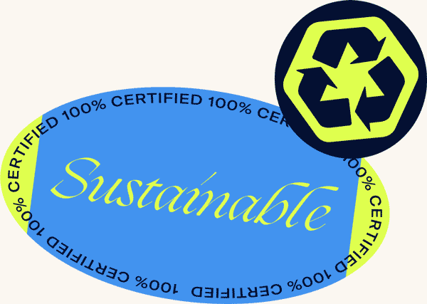 Sustainable sticker and a recycling symbol sticker