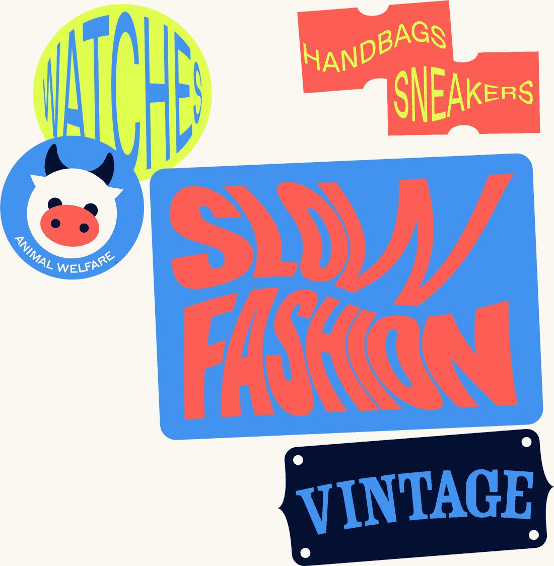 Slow Fashion, Vintage, handbags, sneakers stickers