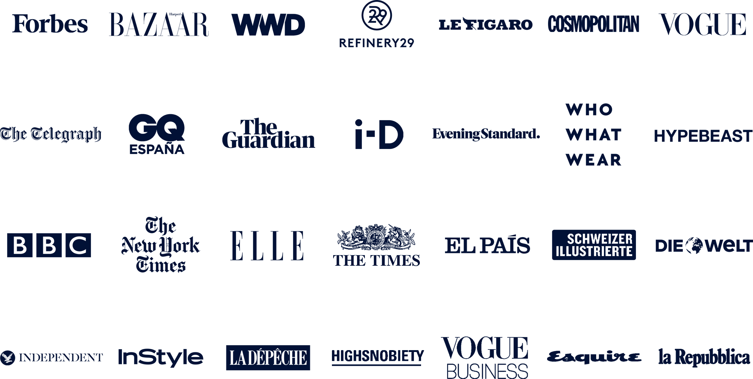 Logos for publications in which Lyst Insights fashion data has been featured
