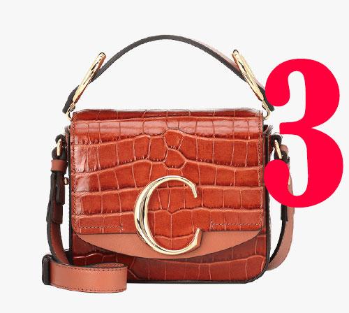 """Mini """"C""""-Schultertasche aus Leder mit Kroko-Effekt von Chloé"""