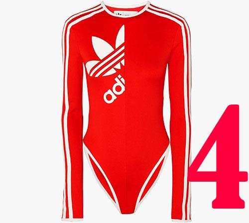 Gestreifter Body aus Stretch-Jersey von Adidas Originals + Ji Won Choi