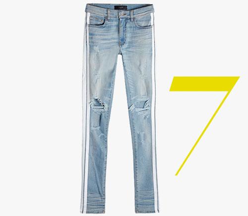 Track gestreifte Jeans im Used-Look von Amiri
