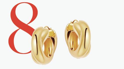 Photo: Goldene, klobig verschlungene Kreolen von Missoma x Lucy Williams