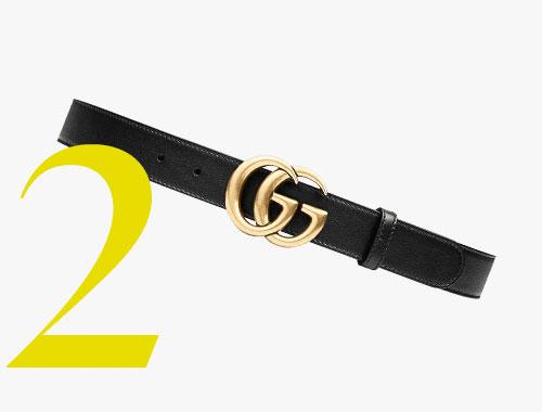 Cinturón de piel con hebilla de doble G de Gucci