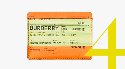 Tarjetero de piel con estampado de billete de tren de Burberry