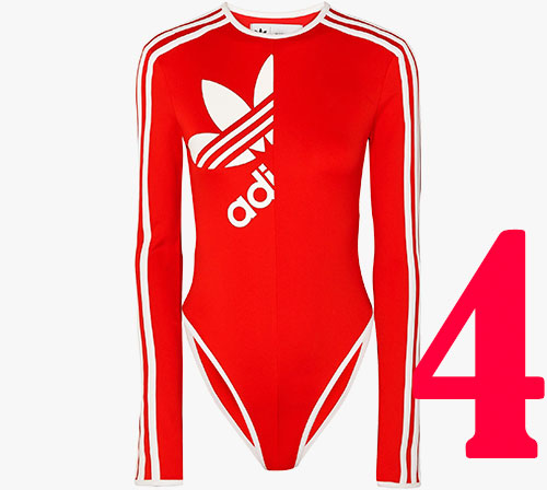 Body en jersey stretch à rayures Adidas Originals x Ji Won Choi