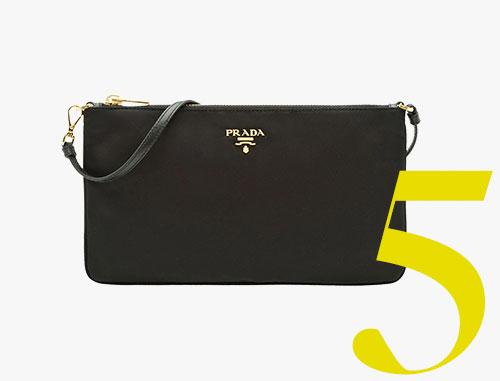 Pochette plate en nylon noir Prada