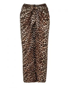 Ganni Calla Wrap-effect Leopard-print Stretch-silk Skirt