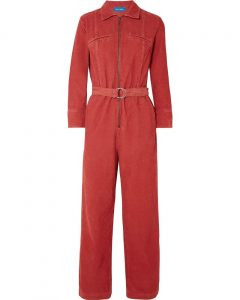 M.i.h Jeans Red Drayson Belted Cotton-corduroy Jumpsuit