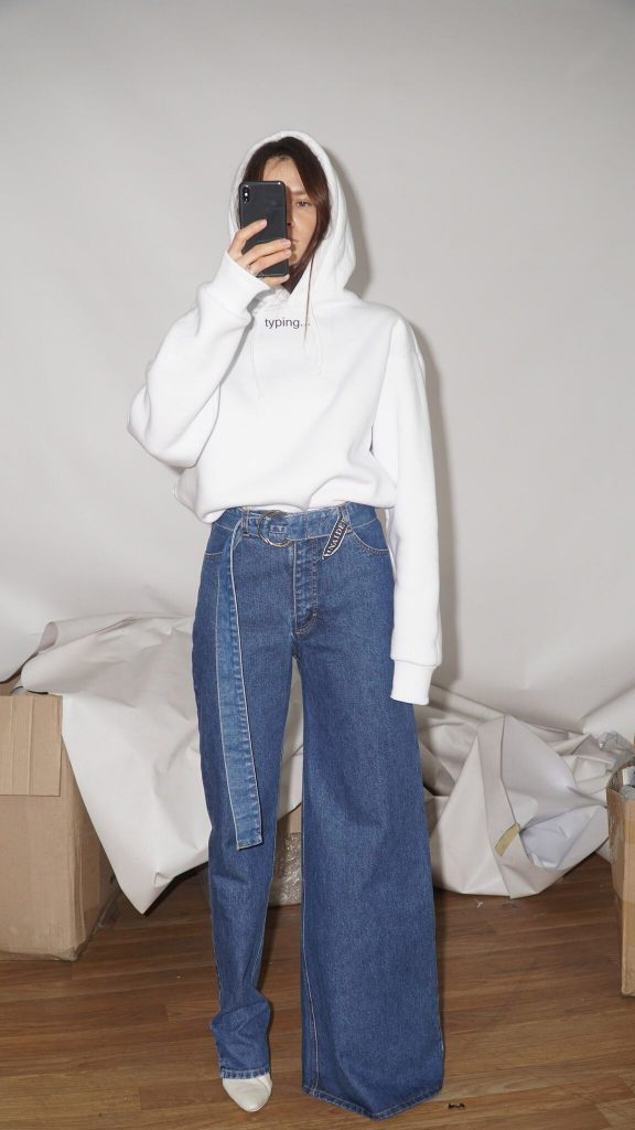 A Photo of Asymmetrical Jeans by Ksenia Schnaider