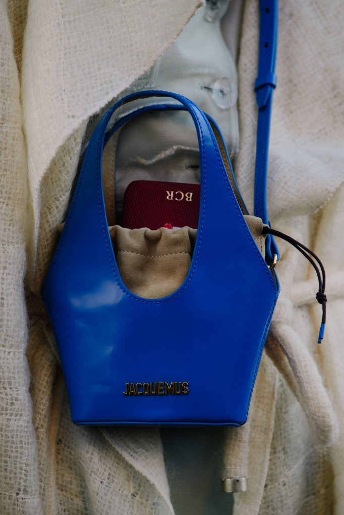 An Image of a Bright Blue Jacquemus Crossbody Bag