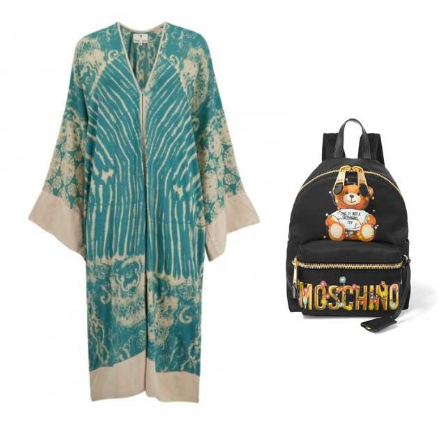 Tribe & Fable teal kimono and Moschino printed backpack