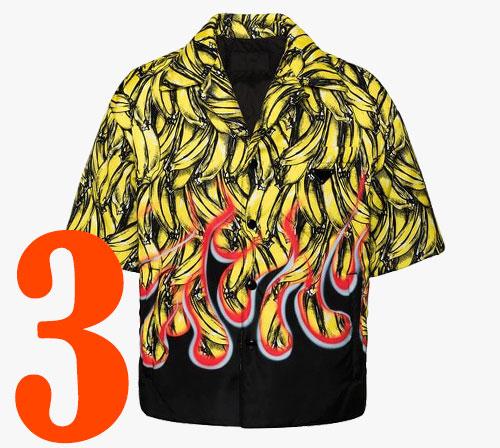 Рубашка с бананово-огненным принтом Prada